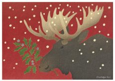 Red Moose Holiday Card by Wendy Morgan
